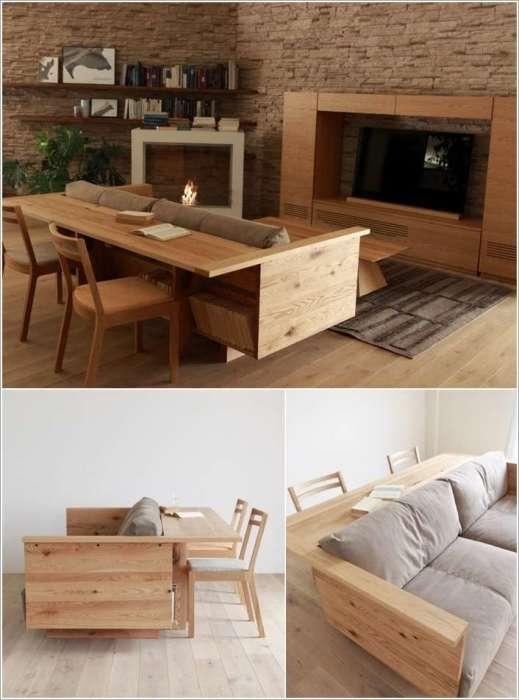 Оригинальное сочетание стола и дивана, которое на самом деле станет самым лучшим вариантом при оформлении гостиной комнаты.