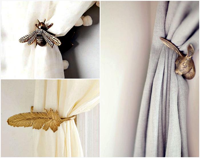 Креативные кованые крючки и подхваты способны существенно изменить внешний вид даже самых простых занавесок.
