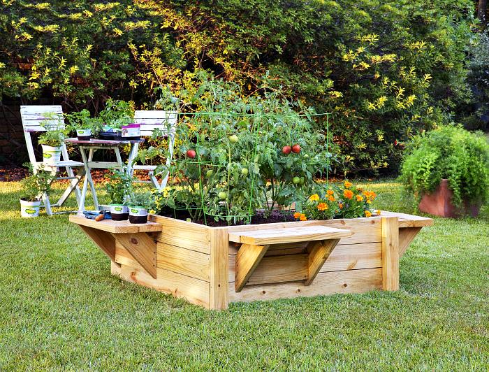 Аккуратная высокая грядка, сделанная из обычных деревянных досок и оборудованная дополнительными полочками по бокам, которые можно использовать для хранения мелкого садового инструментария.