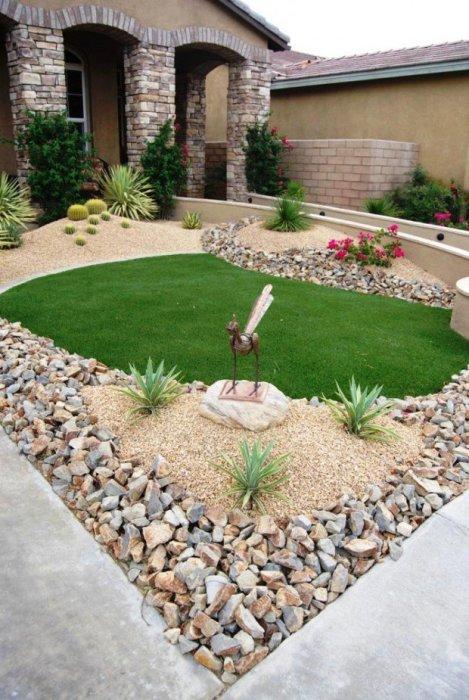 Один из способов рассаживания растений и обустройства ландшафтного дизайна исходя из особенностей используемых материалов.