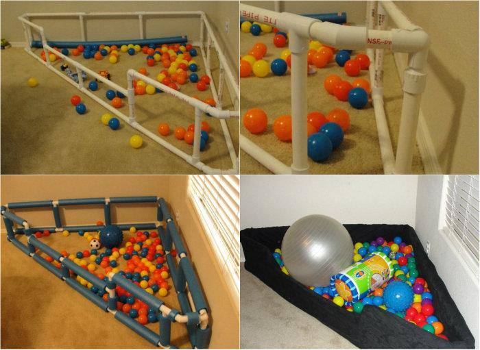 Для малышей можно организовать отличное место для игр с каркасом из ПВХ-труб.