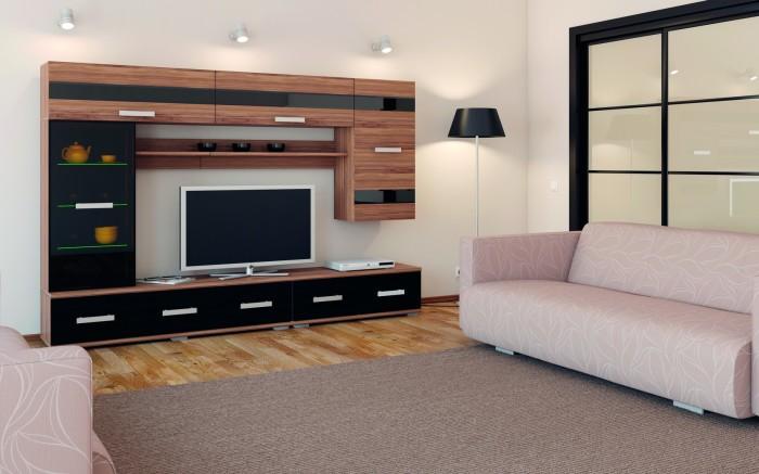 Плазменная панель, отлично вписывающаяся в интерьер гостиной комнаты.