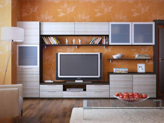 Модульная стенка для домашнего кинотеатра в гостиной комнате.