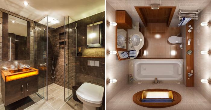 Восхитительные идеи по обустройству небольшой ванной комнаты в современном стиле.