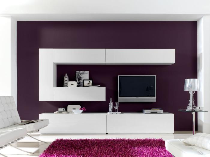 Светлая модульная мебель в стиле минимализма для гостиной комнаты.