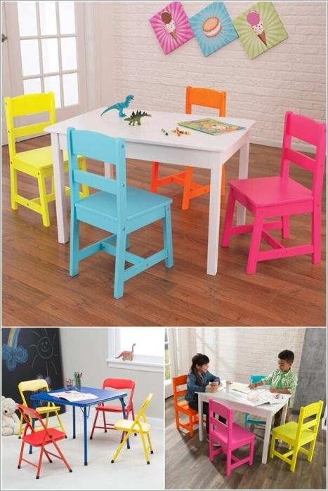 Яркие цвета столиков и стульев, сделанных из натуральной древесины, украсят интерьер любой детской комнаты.