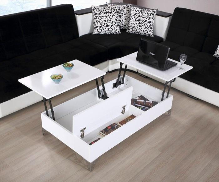 Приобретение раскладного стола для гостиной частично поможет решить проблему отсутствия помещения для офиса в малогабаритной квартире.