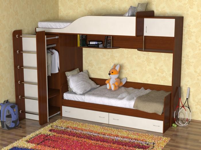 Классическая двухъярусная кровать прекрасно впишется в интерьер детской.