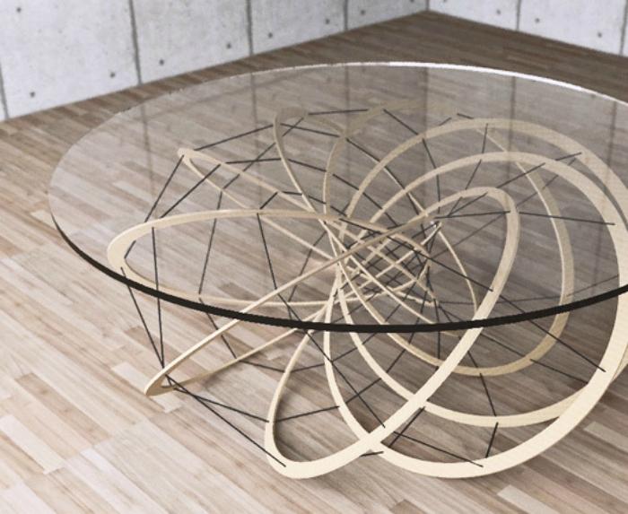 Креативный дизайнерский журнальный столик, сделанный из натурального дерева и стекла, который сочетает в себе классические тенденции и инновационные технологии.