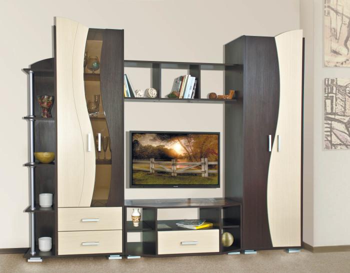 Оригинальное оформление стенки под телевизор в гостиной комнате.