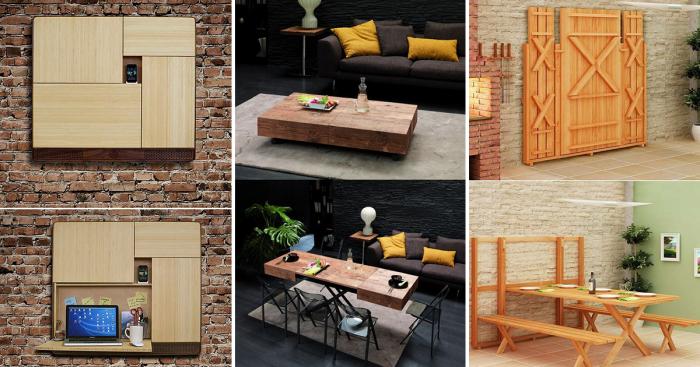 Примеры функциональной трансформирующейся мебели, которая отлично впишется в интерьер малогабаритной квартиры.