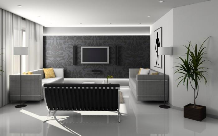 Вдохновляющая гостиная с ультрамодными обоями в зоне для просмотра телевизора.