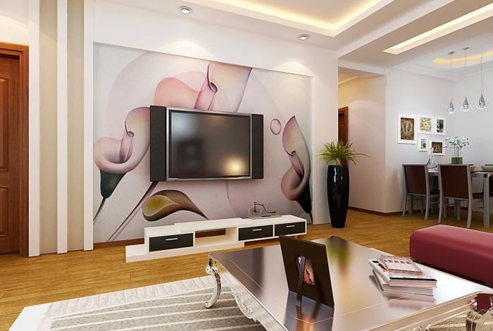 Декоративное панно в зоне для просмотра телевизора - оригинальное решение, которое позволит создать уникальную атмосферу в интерьере гостиной комнаты.