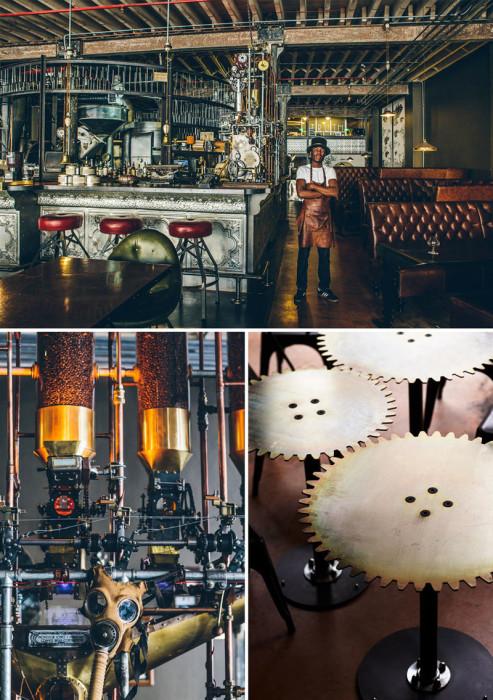 Экстравагантный дизайн интерьера молодёжного кафе в стиле стимпанк. ЮАР, Кейптаун, «Truth Coffee».