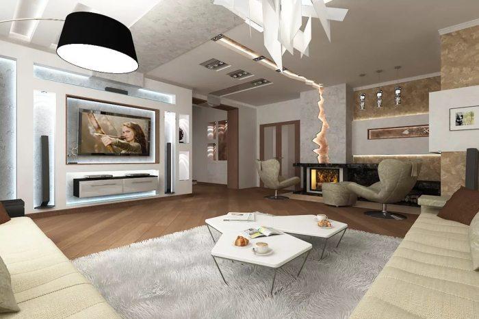Комфортная зона для просмотра телевизора, которая самая по себе создает сказочную обстановку.