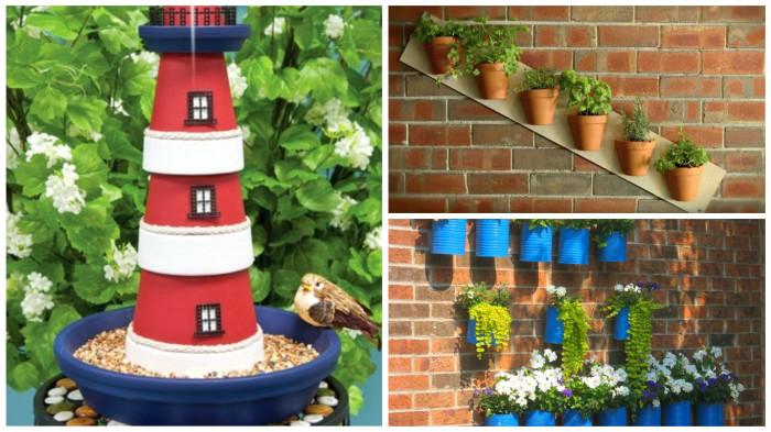 Идеи использования цветочных горшков для дачного декора.