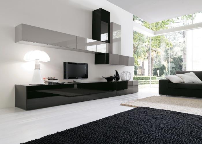 Модульная мебель под телевизор в стиле минимализма для гостиной комнаты.