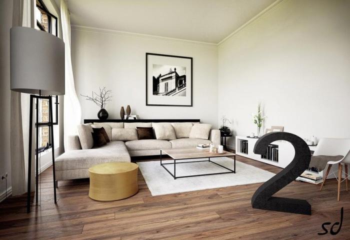 Стильный и необычный дизайн гостиной.