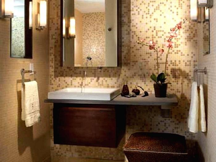 Интерьер ванной комнаты в классическом мужском стиле.