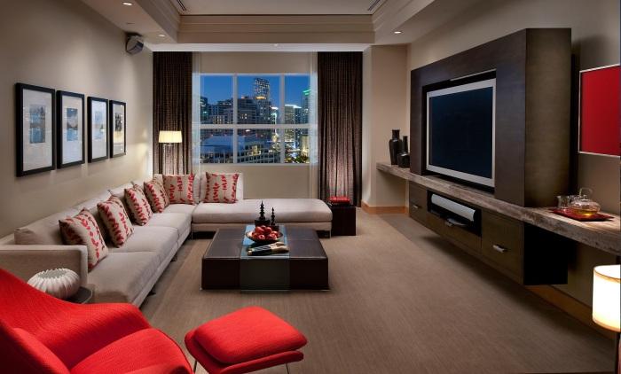 Модульная мебельная стенка для просторной гостиной.