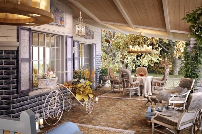 Летняя веранда в стиле прованс пристроенная к маленькому загородному домику.