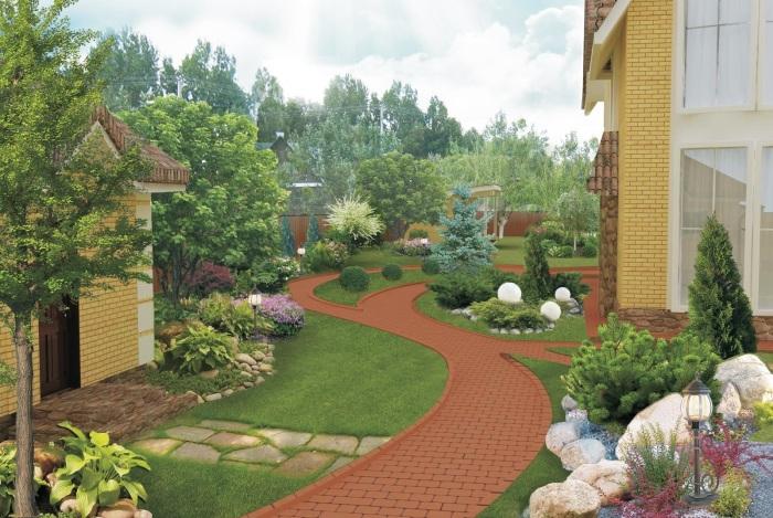 Профессиональное и современное оформление ландшафтного дизайна на территории садового участка.