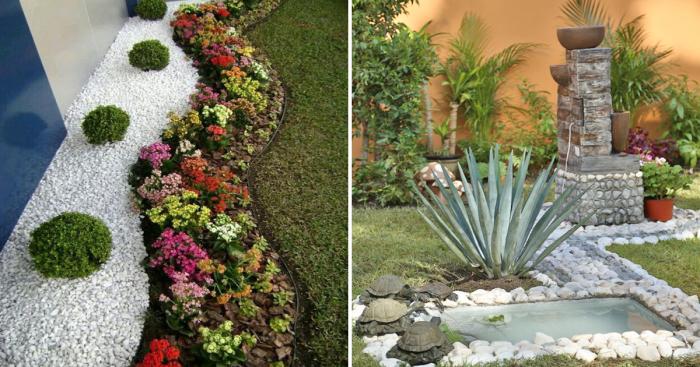 Необычные примеры использования камней в оформлении садового участка.