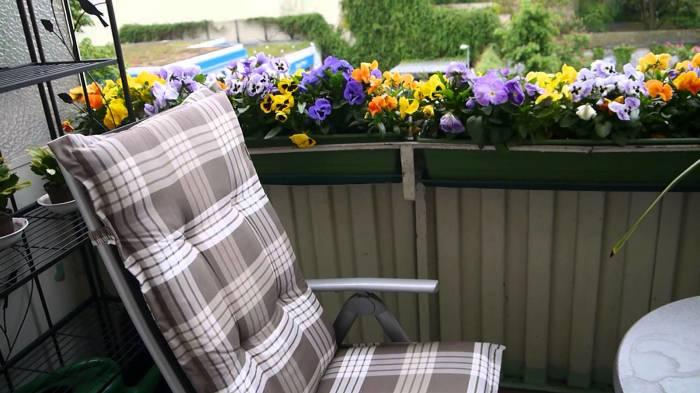Современный балкон отрытого типа с обилием многолетних цветов и растений.