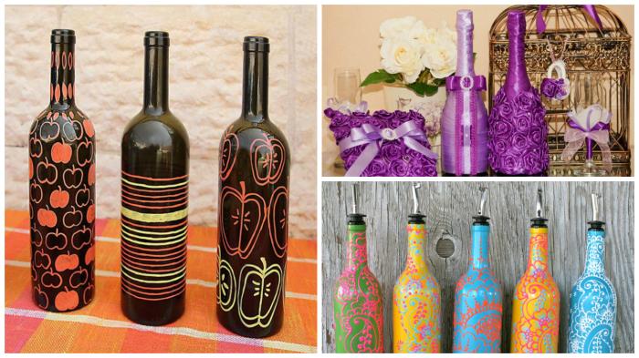 Крутые идеи оригинального декорирование бутылок своими руками.