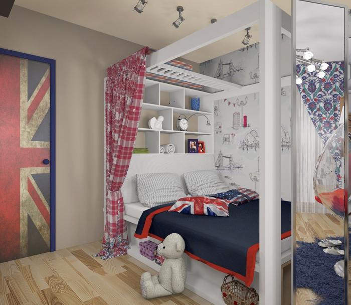 Английский стиль замечательно подходит для оформления комнаты для современных тинэйджеров.