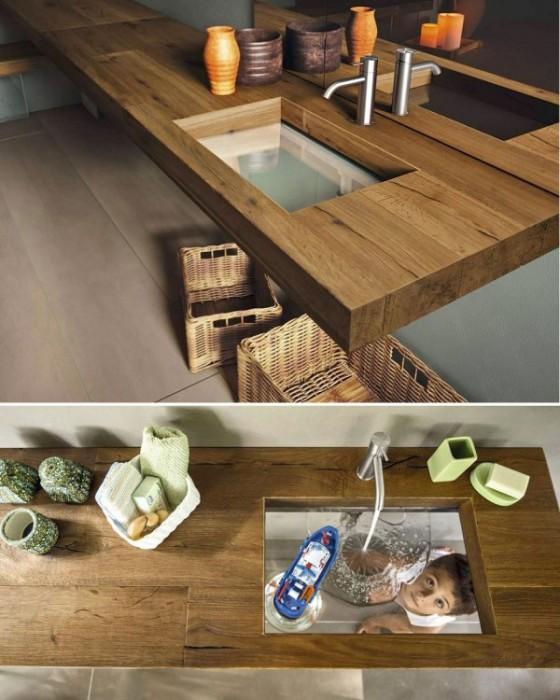 Современная классическая деревянная раковина из цельного массива древесины.
