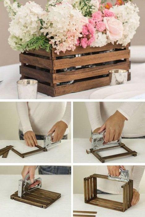 Небольшой деревянный ящик для кашпо, который можно легко сделать своими руками.
