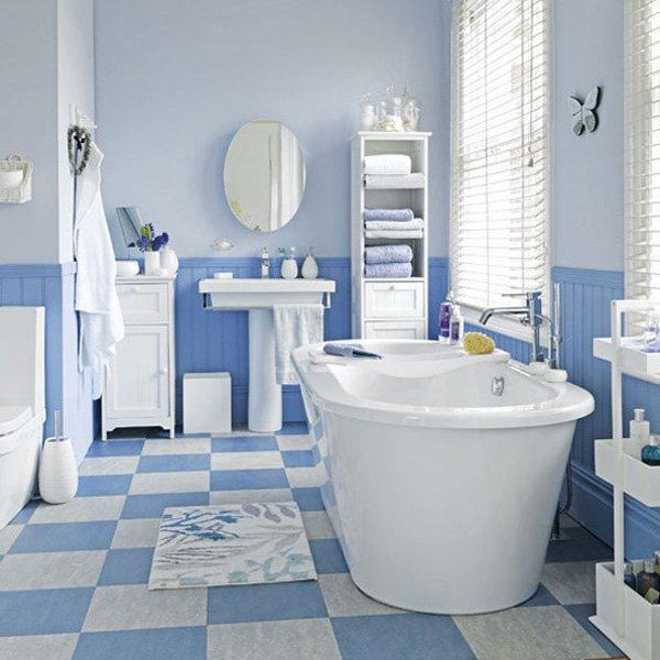 Пастельные оттенки в ванной комнате не дают ярким цветам превалировать в декоре.