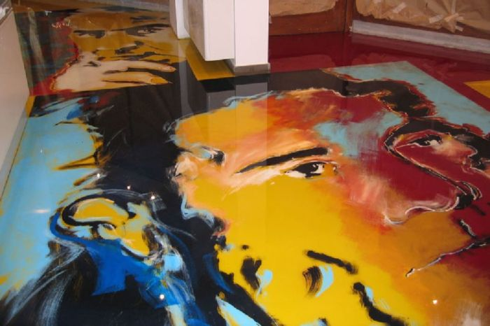 3d напольное покрытие из эпоксидно-полиамидного материала в стиле поп-арт.