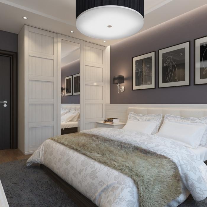 Для спальной комнаты в малогабаритной квартире характерно минимальное разнообразие красок и оттенков.