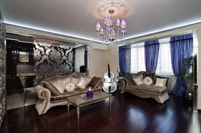 Современный интерьер гостиной комнаты, в которой собраны различные стилистические направления и использованы популярные дизайнерские приемы.