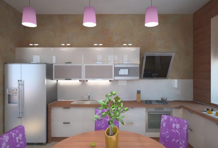 Необычный интерьер кухни с фиолетовыми акцентами - это решение позволит в дальнейшем без труда подчинить себе любые новшества.