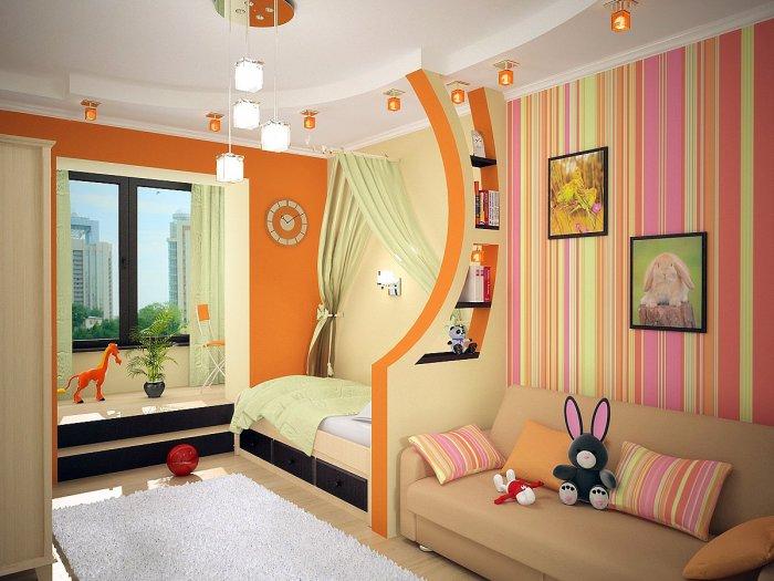 Благодаря несложным манипуляциям с цветом удалось визуально разделить пространства детской комнаты.