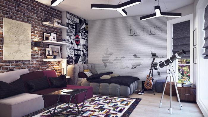 Продуманное и рациональное пространство, оставляющее простор для творчества и фантазии подростка.