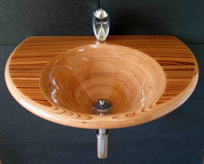 Деревянные раковины для оригинального интерьера ванной комнаты.