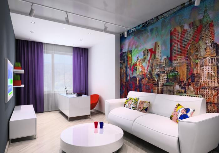 Гостиная комната в стиле поп-арт с белоснежной глянцевой мебелью.