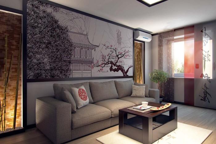 Оригинальный вариант оформления декоративного панно в японском стиле.
