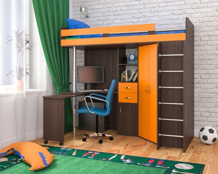 Необычная двухъярусная кровать с рабочим столом внизу, небольшим шкафом и множеством деревянных полочек.