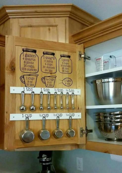 Деревянная дверца со вставленными в неё крючками поможет решить проблему рационального использования внутренней стороны кухонных ящиков.
