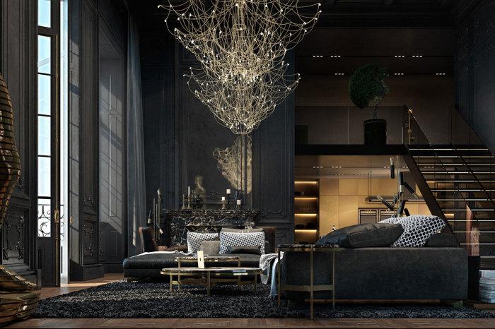 Апартаменты в темных тонах, что станут просто отличной идеей для загородного дома.