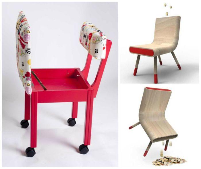 Простой стульчик с функциональным сидением, которое оборудовано небольшим потайным отсеком.