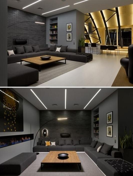 Декорирование гостиной комнаты в серых тонах - отличное решение для помещений любых размеров.