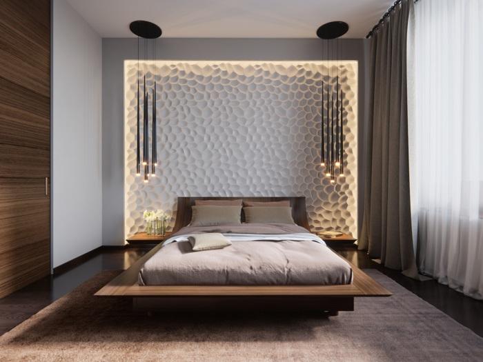 Монохромная цветовая гамма в минималистском стиле спальной комнаты.