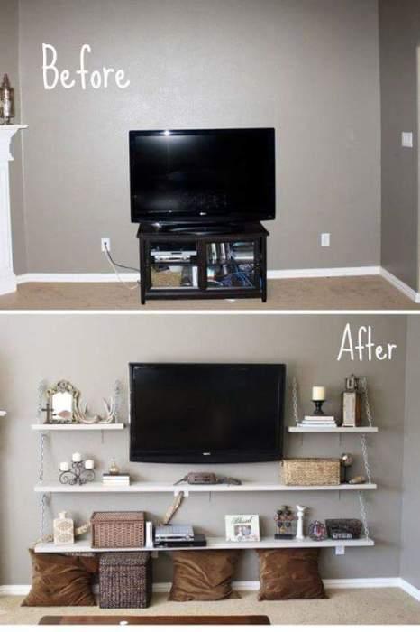 Отличная идея как можно преобразить зону для просмотра телевизора в гостиной комнате.