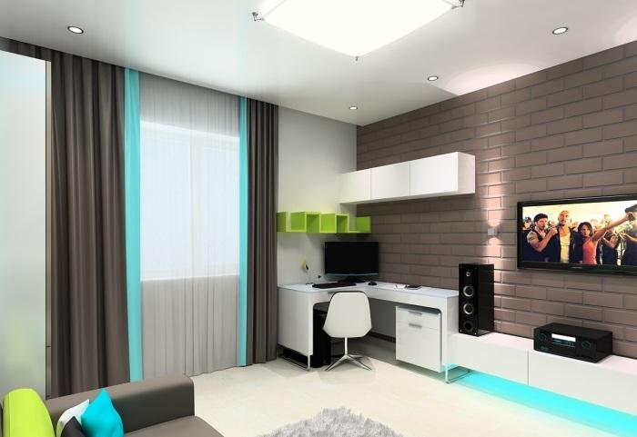 Стильный и неординарный вариант оформления комнаты для подростка.